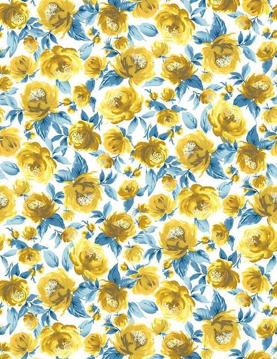 veronica yellow peonies pattern