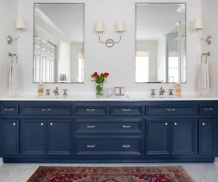 Navy Blue Bath Vanity Cabinets And Drawers Transitional Bathroom