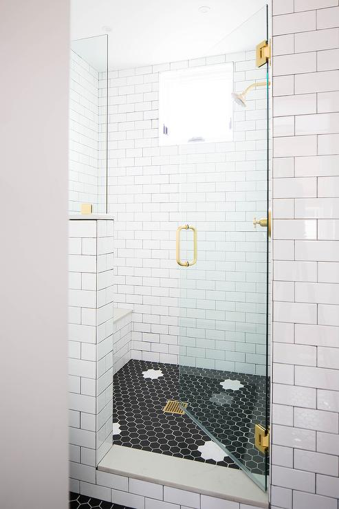 Shower With White Subway Tiles And Gray Marble Basketweave Floor Tiles Transitional Bathroom