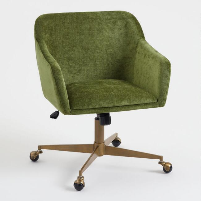 green velvet swivel chair metal dining room table and chairs zarek mid century brass office