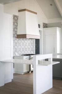 White Kitchen with Gray Island and Dark Oak Wood Floors ...