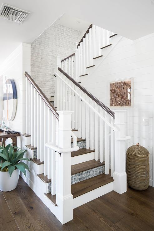 Blue Mosaic Staircase Riser Tiles Transitional Entrance Foyer | Wood Stairs With Tile Risers | Grey | Diy | Design | Mosaic | Stone