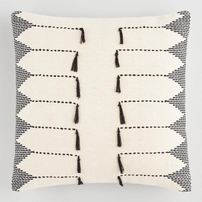 black white embroidered tassel throw pillow