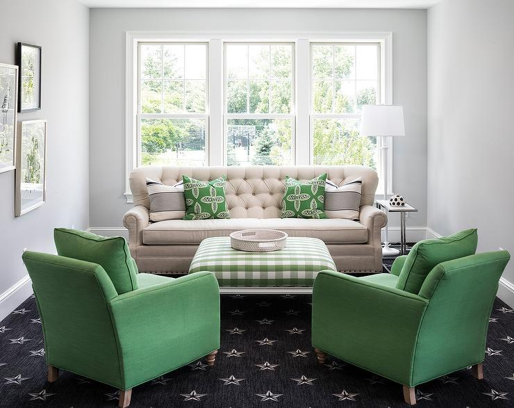 Living Room With Green Accents Transitional Living Room