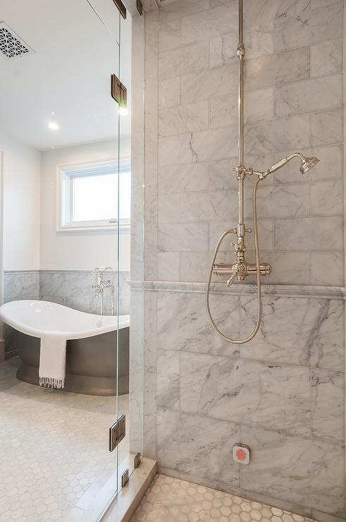 mixed gray marble shower tiles with