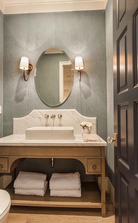 beige wood open sink vanity with vessel
