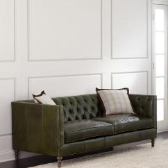 Dark Green Leather Sofa Hovas Mackenzie Button Tufted