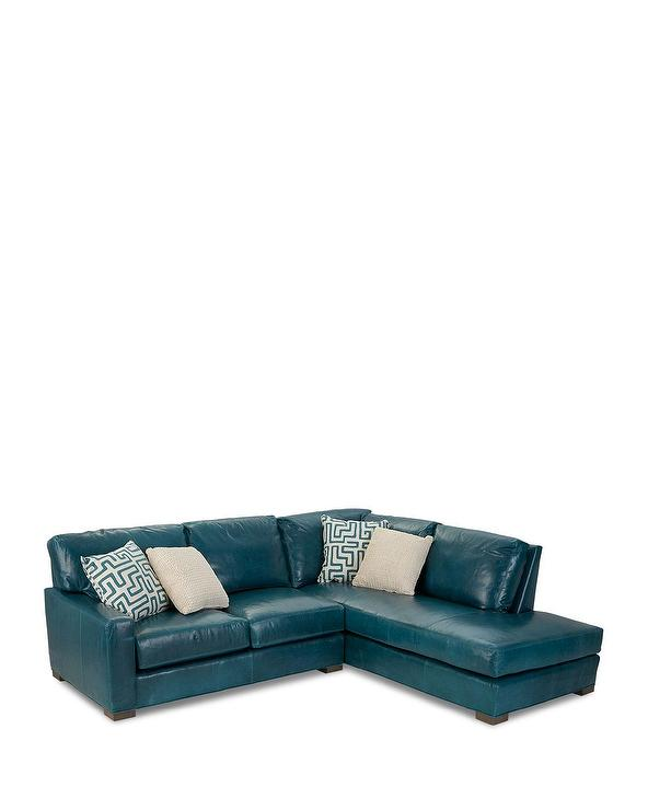 shariah teal leather right chaise sectional