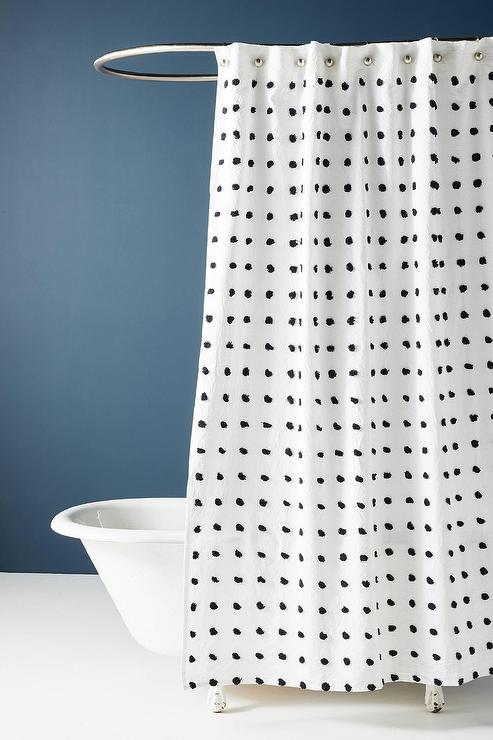 makers black white dotted tufted shower