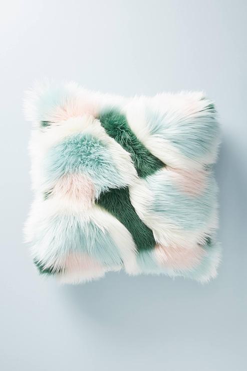 teal furry pillow online