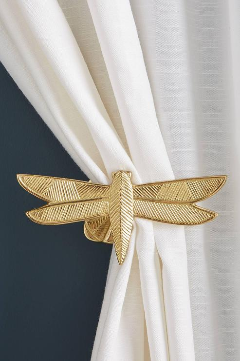 claude textured gold dragonfly curtain