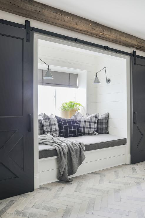 Shiplap Home Office with Black and White Drum Pendants Over Built In Desks  Transitional  Den