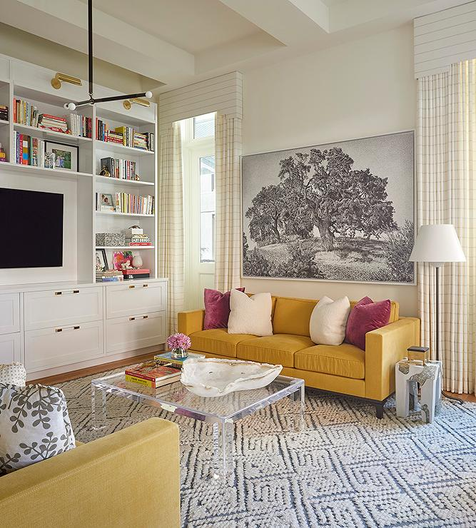Mustard Yellow Couch With Lucite Coffee Table Transitional Living Room
