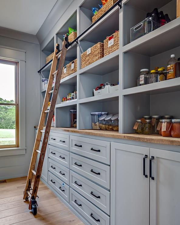Gray Pantry Cabinets With Rustic Wood Countertops Cottage Kitchen