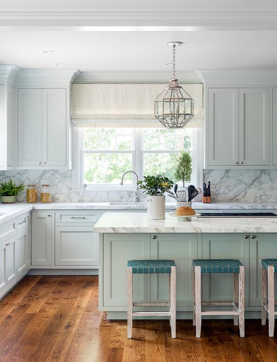 Pale Blue Kitchen With Vaulted Shiplap Kitchen Ceiling