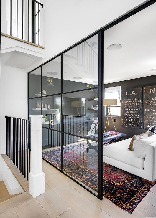 family room with black