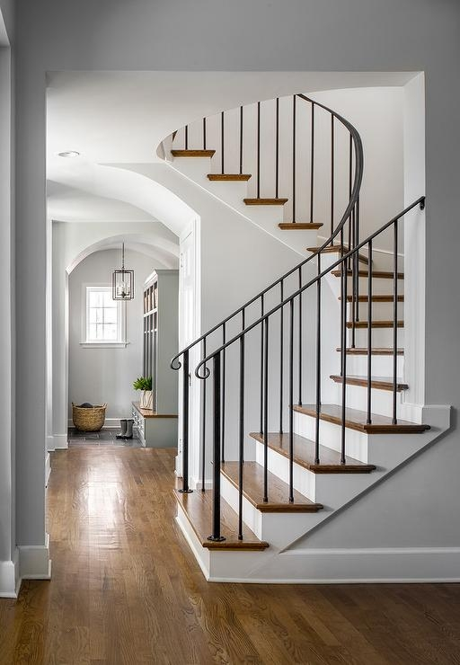 Wrought Iron Staircase Railing Transitional Entrance Foyer | Wrought Iron Stair Railing Near Me | Steel | Spindles | Wood | Front Porch Railings | Stair Spindles