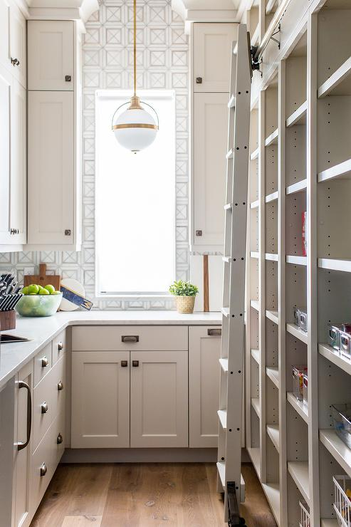 Light Gray Pantry With Tall Modular Shelves Transitional Kitchen Benjamin Moore Edgecomb Gray