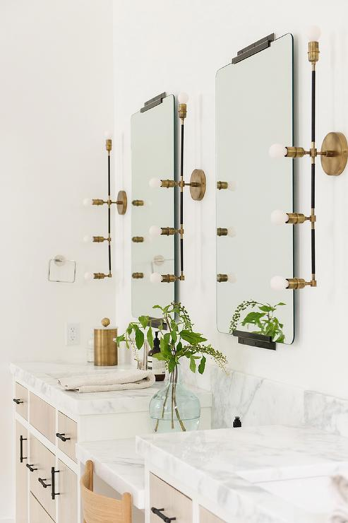 Linear Brass Lights With Vintage Vanity Mirrors Transitional Bathroom