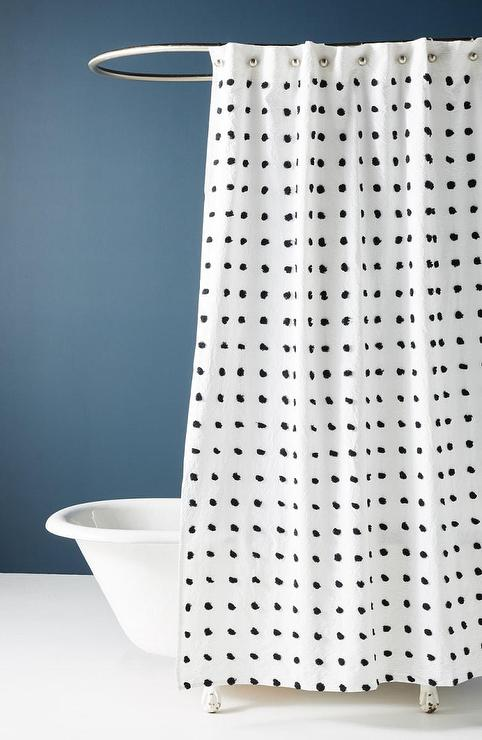 white tufted dots cotton shower curtain
