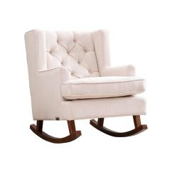 Abbyson Living Thatcher Fabric Rocking Chair In Beige Professional Gaming Chairs Rocker Ivory Tufted Wingback