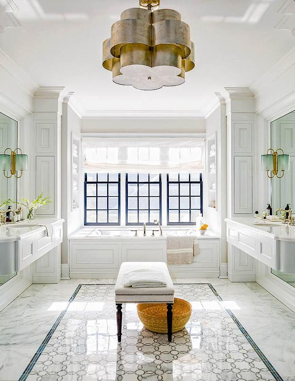 Green Subway Shower Tiles with White Marble Grid Shower