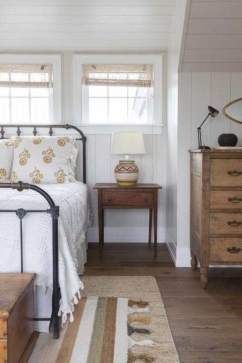 Attic Bedroom with Beadboard Walls and Ceiling  Cottage