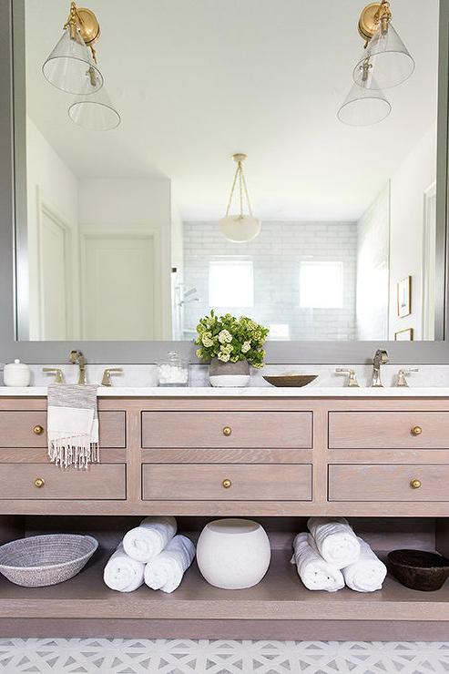 brown oak dual bath vanity with gray