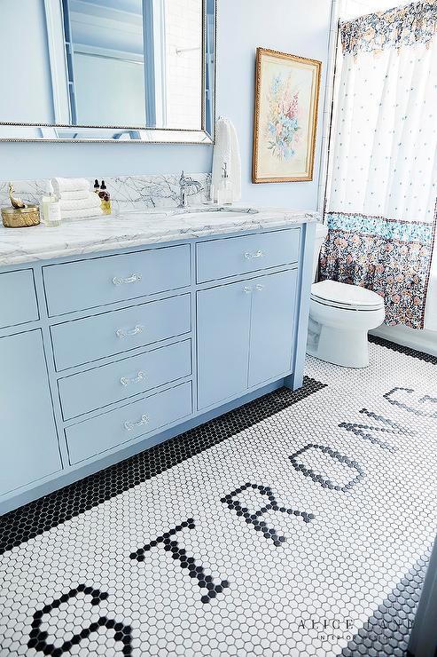 Light Blue Bathroom With Glass Pulls Transitional Bathroom