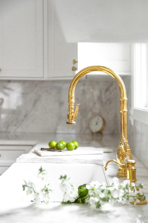 polished brass vintage faucet with