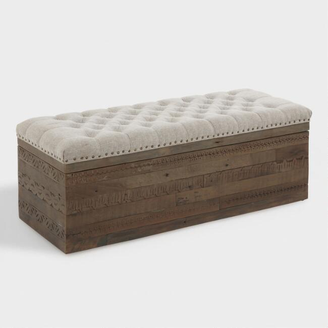 small gray twill wood storage ottoman table