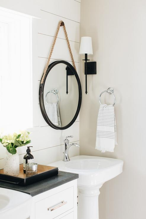 rope hanging mirror with pedestal sink