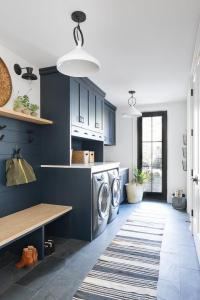 Dark Blue Laundry Room and Mudroom Combo - Transitional ...