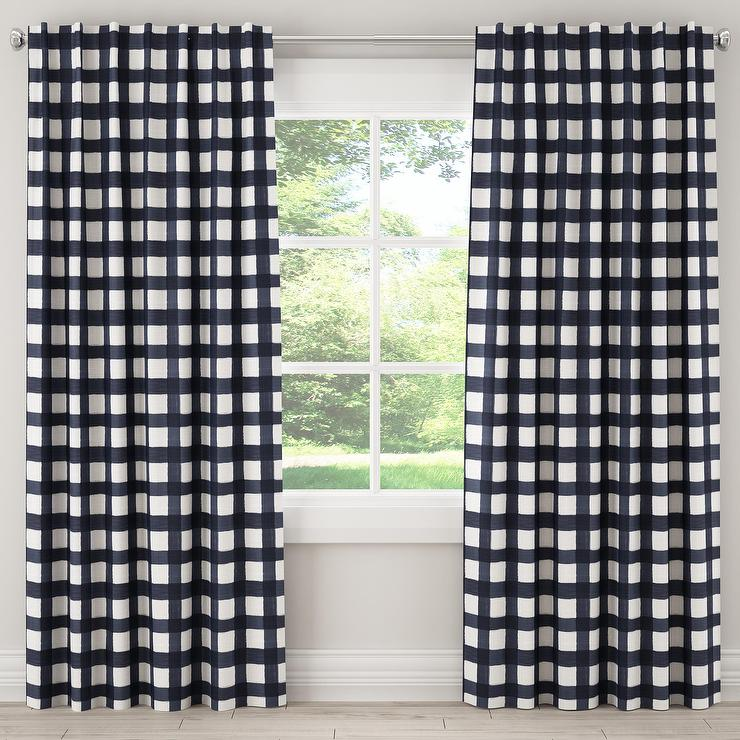 blue buffalo check curtain panel
