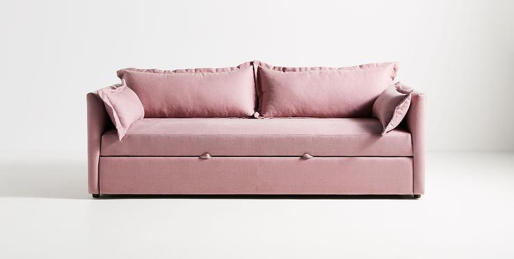 denver blush linen trundle sleeper sofa