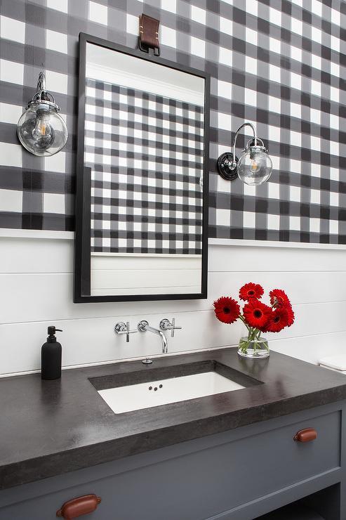 Powder Room With Slate Blue Bath Vanity Cottage Bathroom