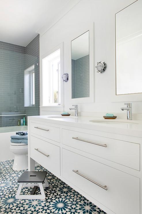 white and blue mosaic bath floor tiles