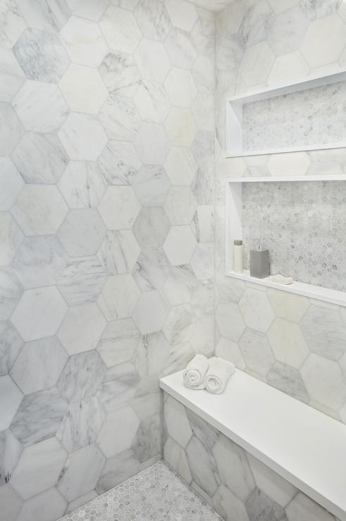 marble hex tile shower niche design ideas
