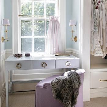 Closet Makeup Vanity Under Window Design Ideas