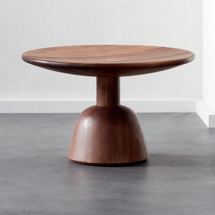 hemlock round natural wood pedestal