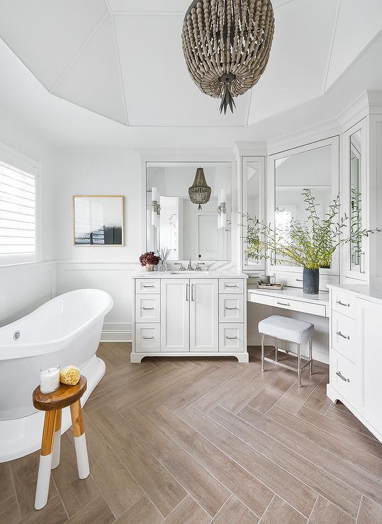 Corner Makeup Vanity With Chrome Stool Transitional Bathroom
