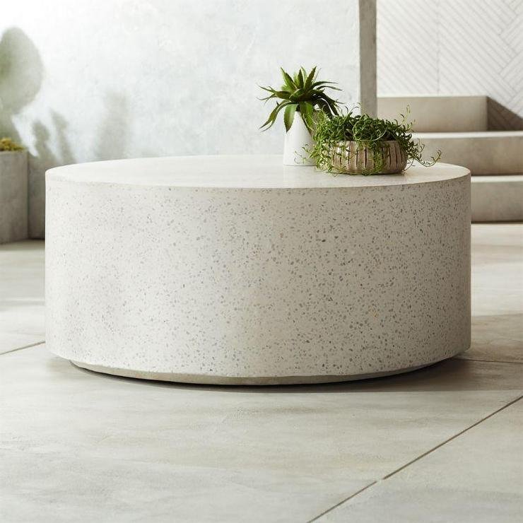 terrazzo round white stone coffee table