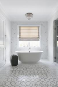 White and Gray Marble Accent Tiles - Transitional - Bathroom