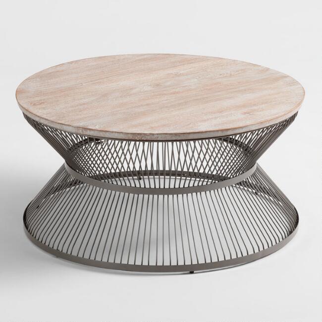 kearny round wood gray metal coffee table