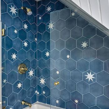 blue hexagon tiles design ideas