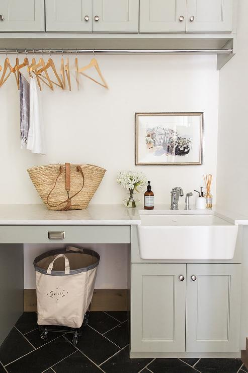 farmhouse sink with gray laundry room