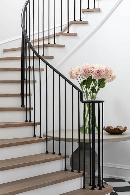 Wrought Iron Spindles On Winding Staircase Transitional | Wrought Iron Banister Spindles | Metal | Wooden | Double Basket | Cast Iron | Type