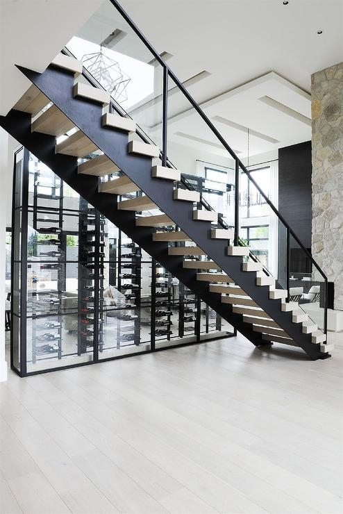 Black Floating Staircase Next To Glass Wine Room Modern | Floating Stairs With Glass Railing | Duplex Balcony | Combination Glass | Glass Balustrade | Crystal Handrail | Innovative Glass