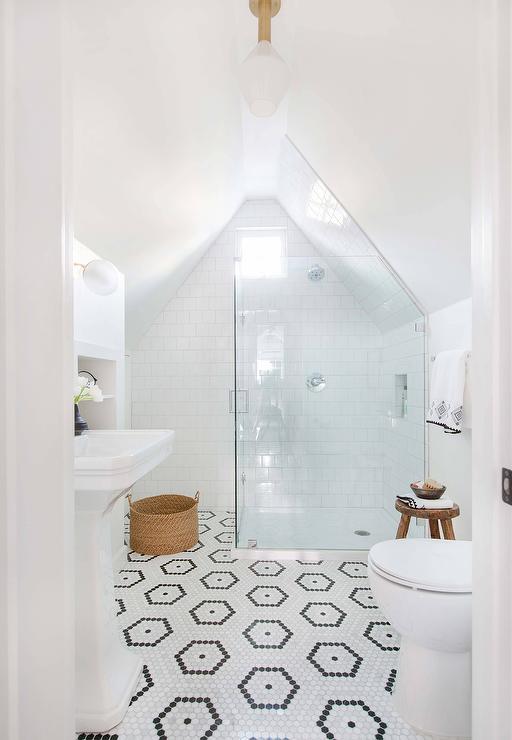 white hexagon pattern bath floor tiles