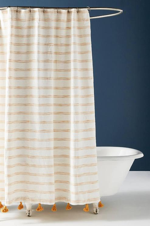 rio orange striped tasseled shower curtain